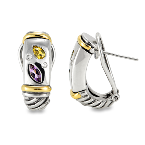 Diamond, Citrine and Amethyst Sterling Silver Earrings with 14K Gold Accents