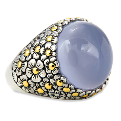 Chalcedony Sterling Silver Ring with 18K Gold Accents