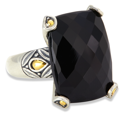 Black Onyx Sterling Silver Pronged Ring with 18K Gold Accents