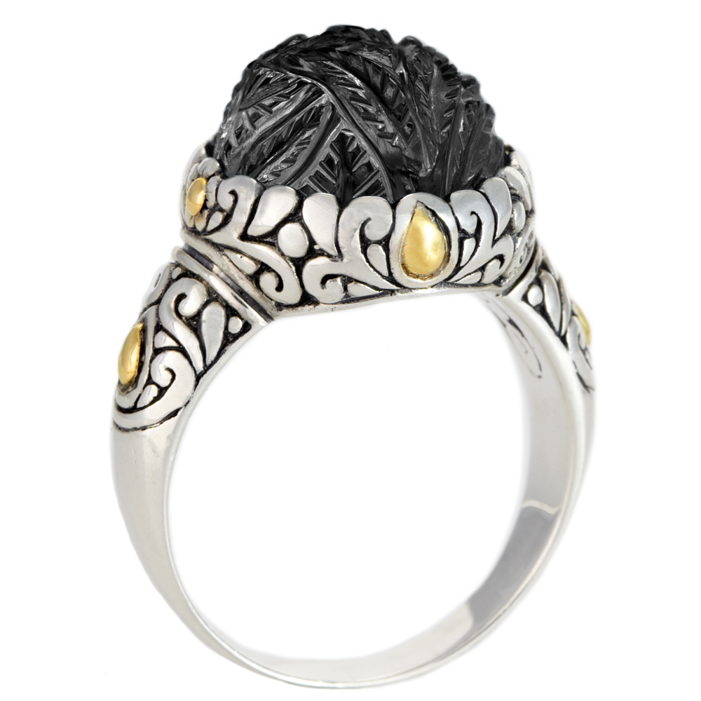 Carved Black Onyx Sterling Silver Ring with 18K Gold Accents