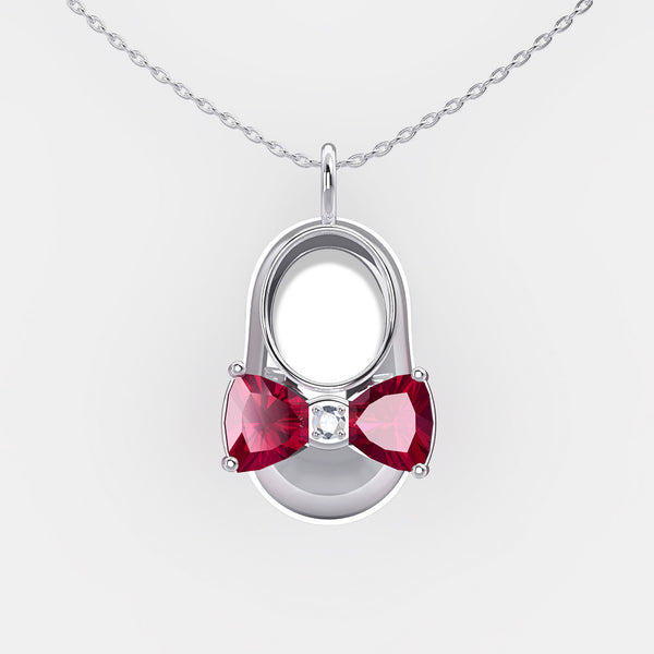 14K White Gold Diamond and Rhodolite Garnet Baby Shoe Pendant