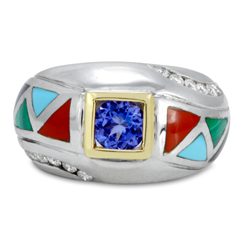 Diamond, Tanzanite and Enamel Sterling Silver Ring with 18K Gold Accents