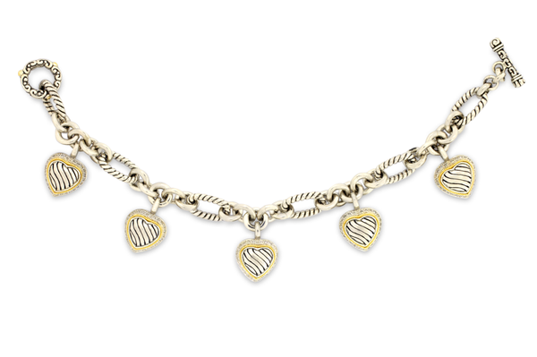 Sterling Silver Heart Charm Bracelet with Diamond and 18K Gold Accents
