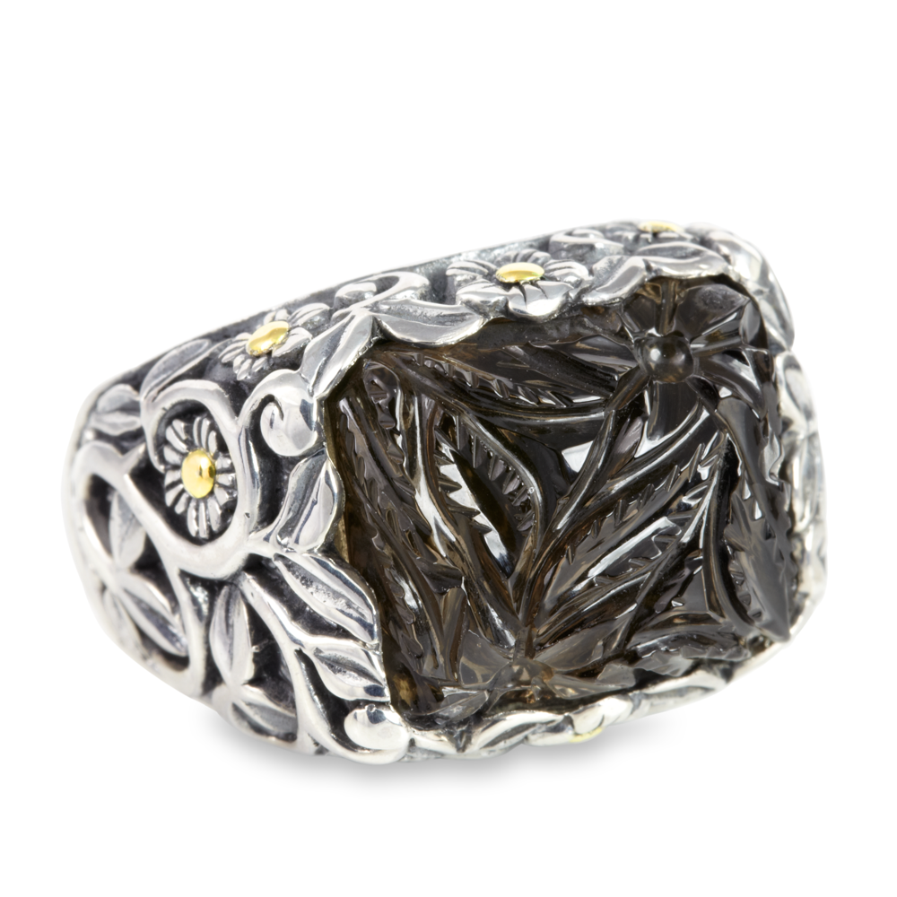 "Carved Smokey Quartz Sterling Silver Ring with 18K Gold Accents ""Claire"""