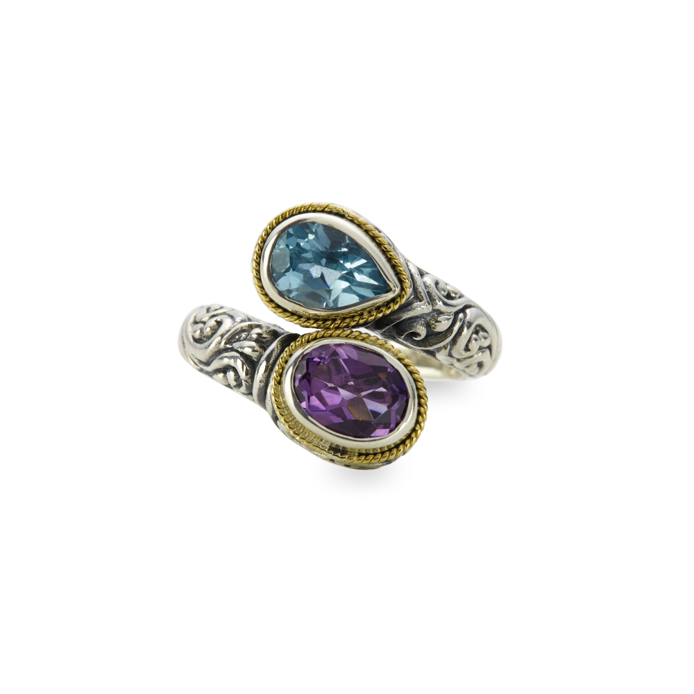 Blue Topaz and Amethyst Sterling Silver Bypass Ring with 18K Gold Accents