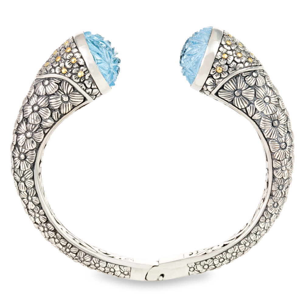 "Carved Blue Topaz Bangle Set in Sterling Silver & 18K Gold Accents ""Bailey"""
