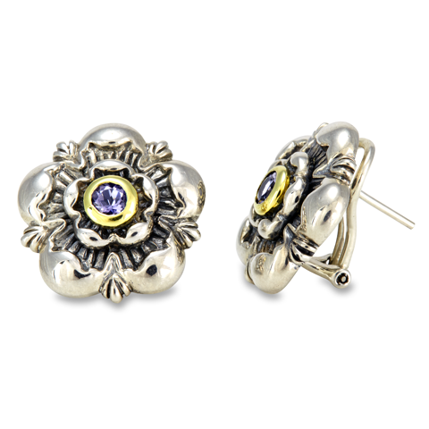 Iolite Sterling Silver Earrings with 18K Gold Accents