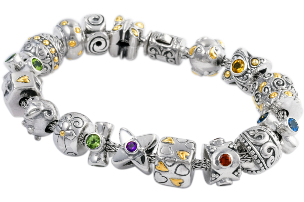 Multi Gemstone Sterling Silver Charm Bracelet with 18K Gold Accents