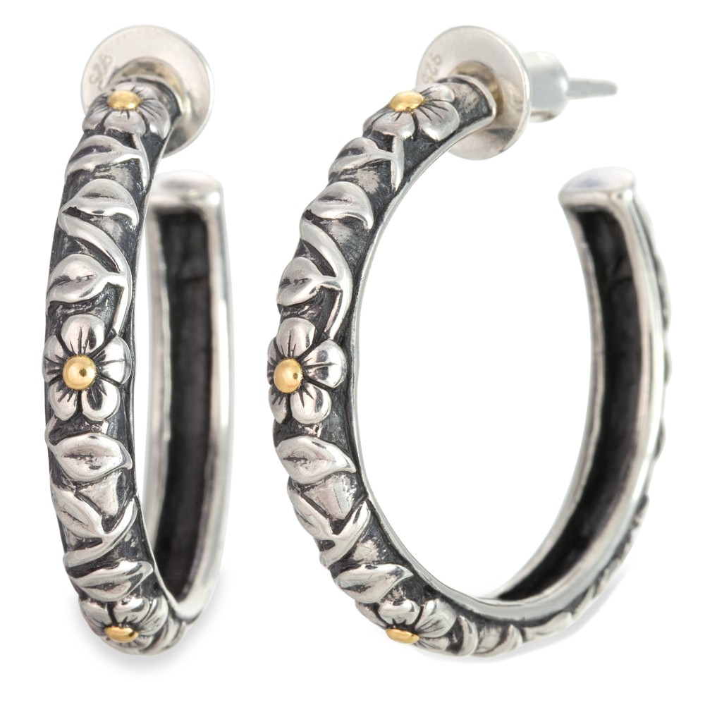 Earrings with Silver & Yellow Gold Accents