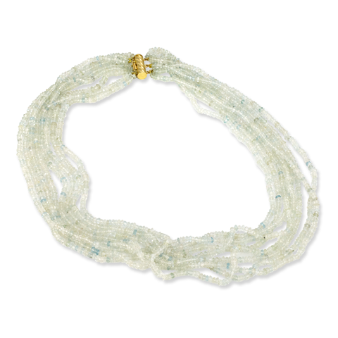 Aquamarine Beaded Necklace with Gold Vermeil Lock