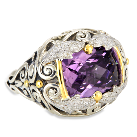 Amethyst and Diamond Sterling Silver Ring with 18K Gold Accents