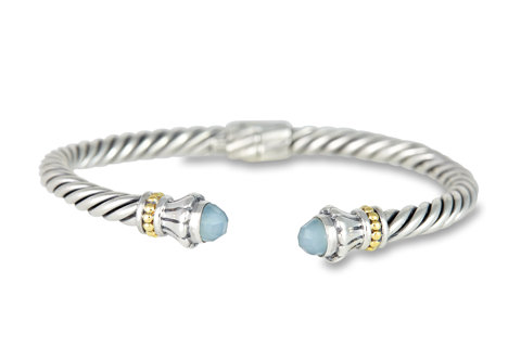 Chalcedony Twisted Cable Bangle Set in Sterling Silver & 18K Gold Accents
