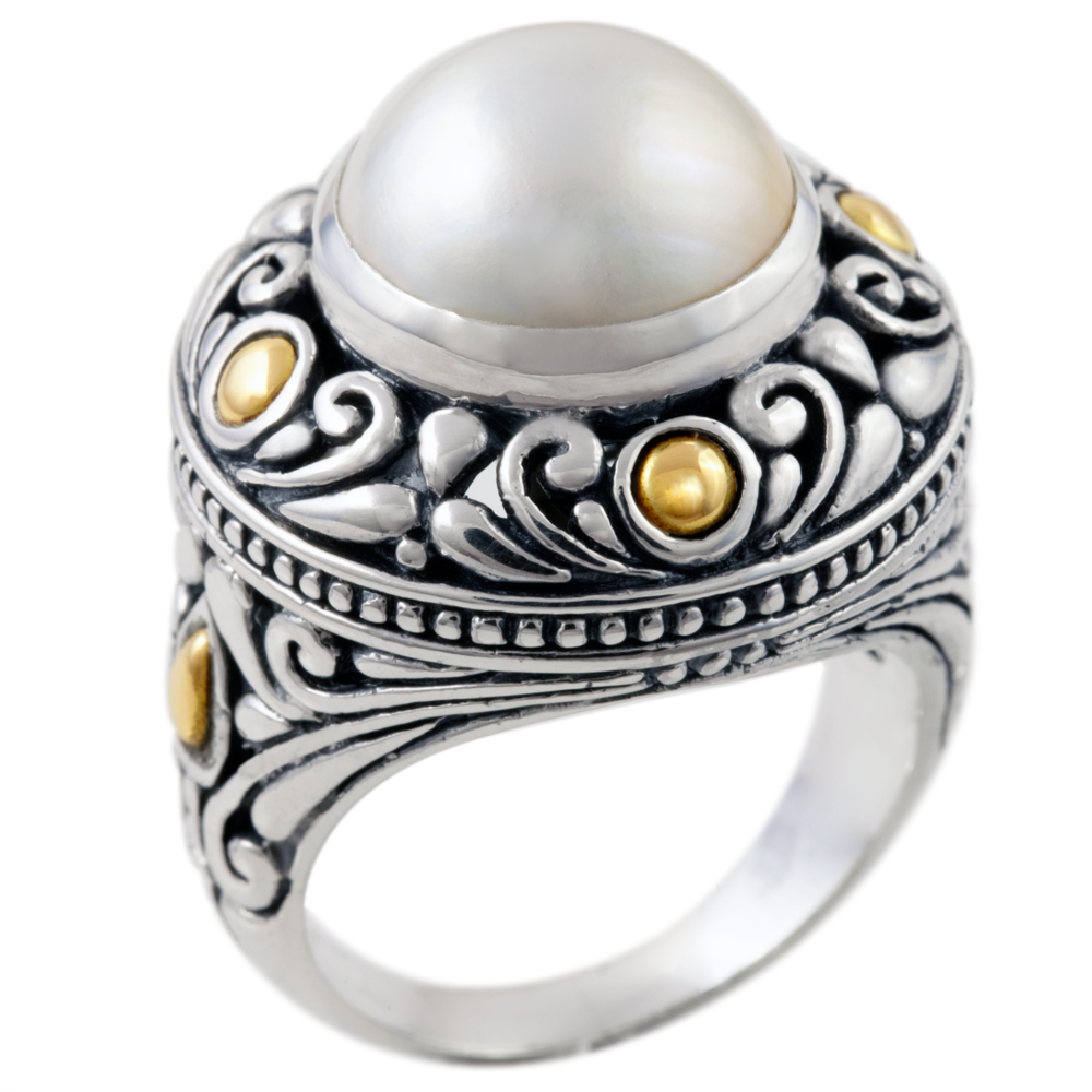 Mobe Pearl Sterling Silver Ring with 18K Gold Accents