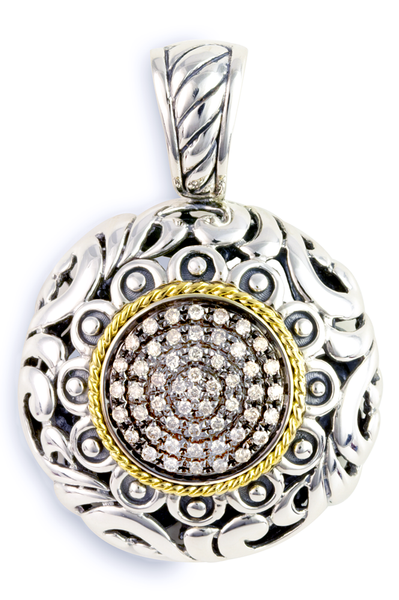 Brown Diamond Sterling Silver Pendant with 18K Gold Accents
