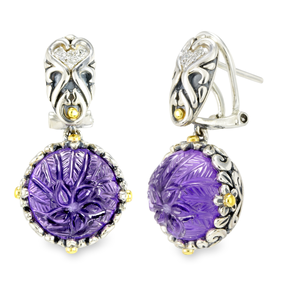 Carved Amethyst and Diamond Sterling Silver Earrings with 18K Gold Accents