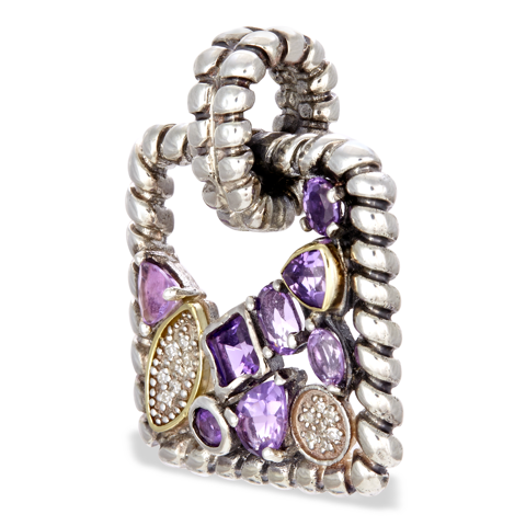 Amethyst and Diamond Sterling Silver Pendant with 18K Gold Accents