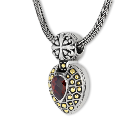 Garnet Sterling Silver Necklace with 18K Gold Accents