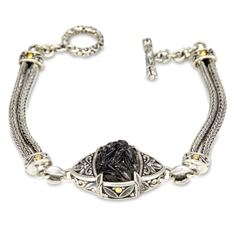 Carved Black Onyx Sterling Silver Woven Bracelet with 18K Gold Accents