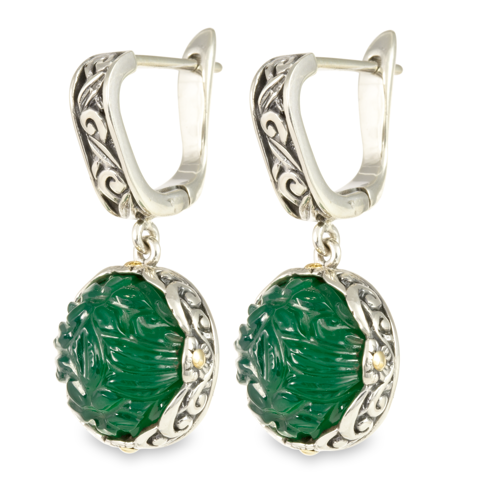 "Carved Green Onyx Sterling Silver Earrings with 18K Gold Accents ""Elizabeth"""