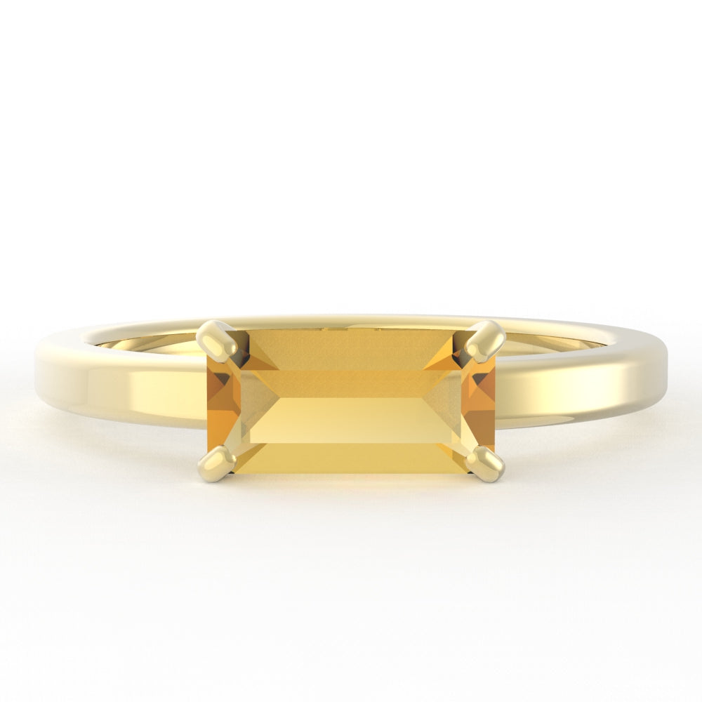 Citrine Baguette 14K Yellow Gold Ring