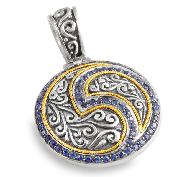 Blue Sapphire Pendant Set in Sterling Silver & 18K Gold Accents