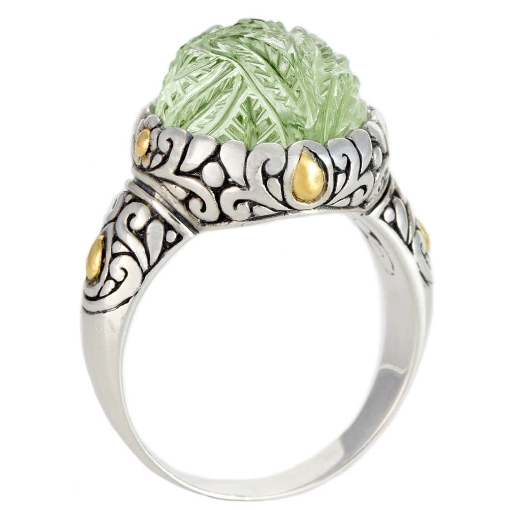 Carved Green Amethyst Sterling Silver Ring with 18K Gold Accents
