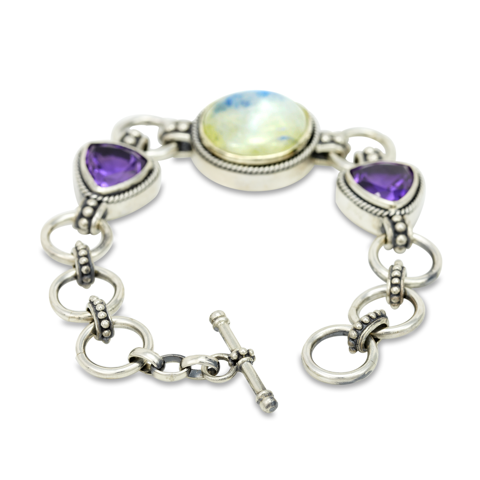 Moonstone and Amethyst Sterling Silver Bracelet