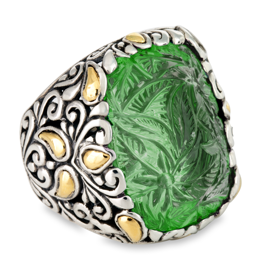 "Carved Green Onyx Ring Set in Sterling Silver & 18K Gold Accents ""Miranda"""