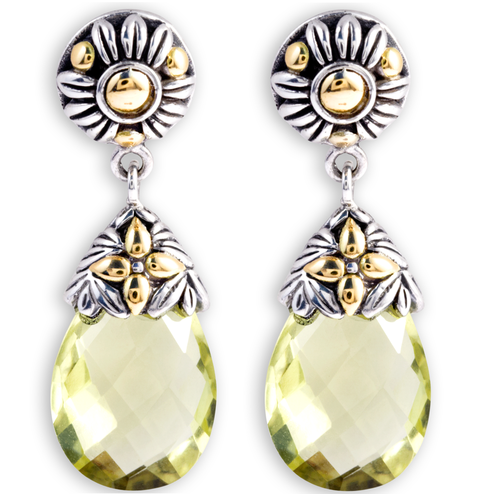 Lemon Quartz Briolette Earrings set in Sterling Silver with 18K Gold Accents