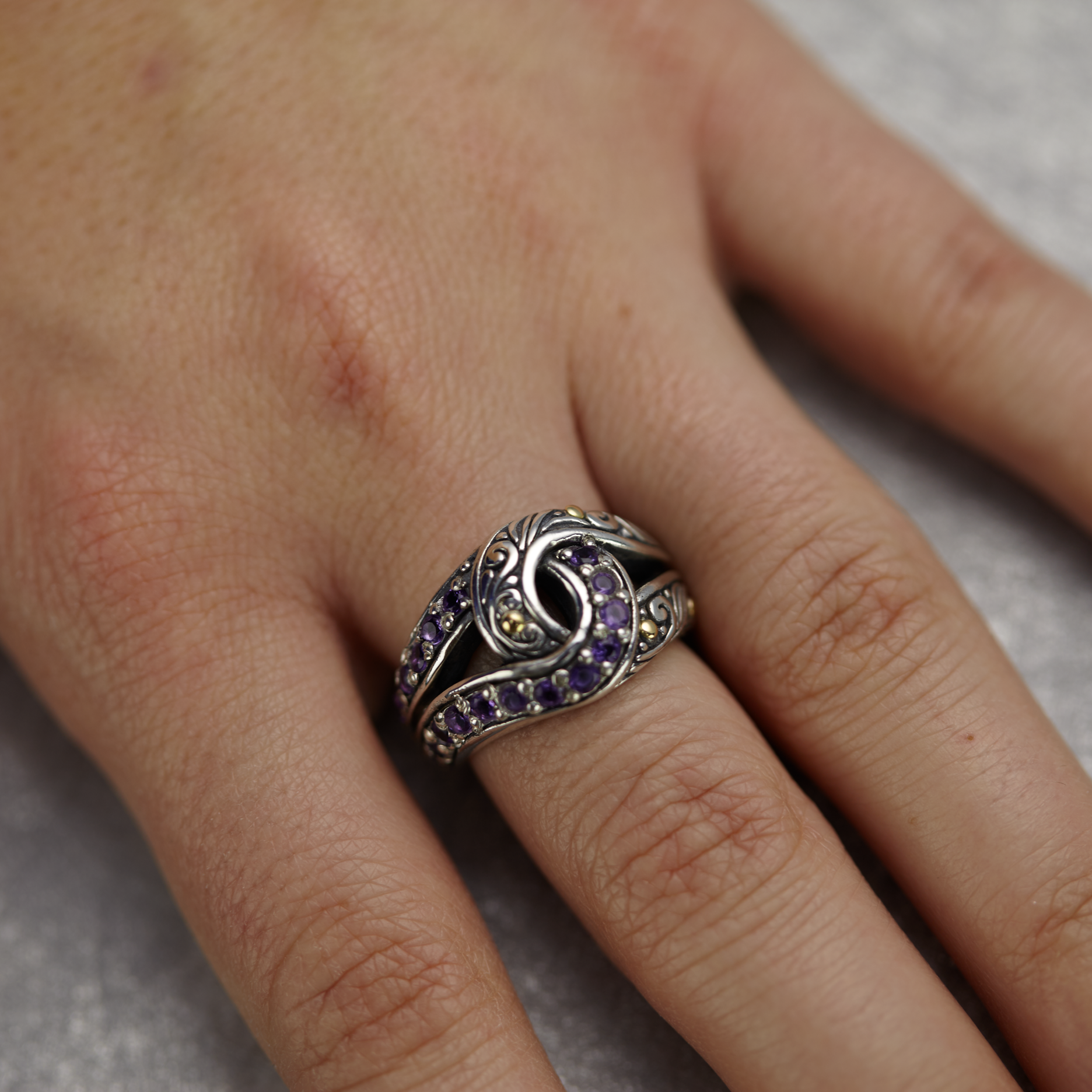 "Amethyst Sterling Silver ""Infinity Knot"" Ring with 18K Gold Accents"