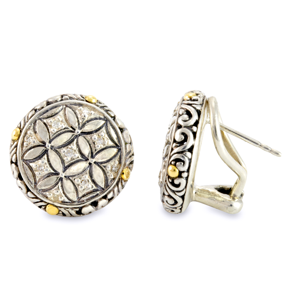 Sterling Silver Earrings with Diamond and 18K Gold Accents