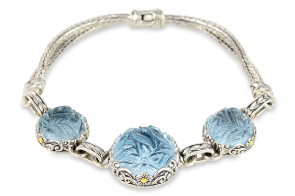 "Carved Blue Topaz Bracelet Sterling Silver & 18K Gold Accents ""Joelle"""