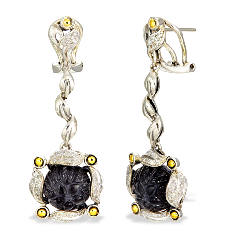 Diamond Accented Carved Hematite and White Crystal Doublet Sterling Silver Earrings with 18K Gold Accents