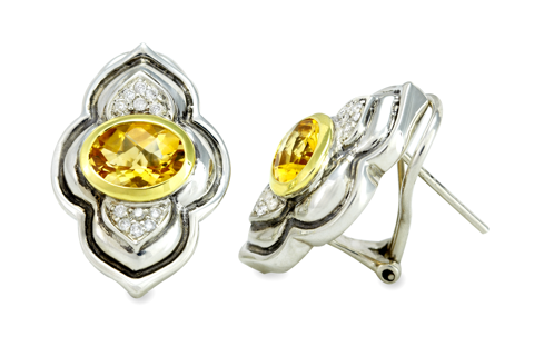 Citrine and Diamond Earrings Set in Sterling Silver & 18K Gold Accents