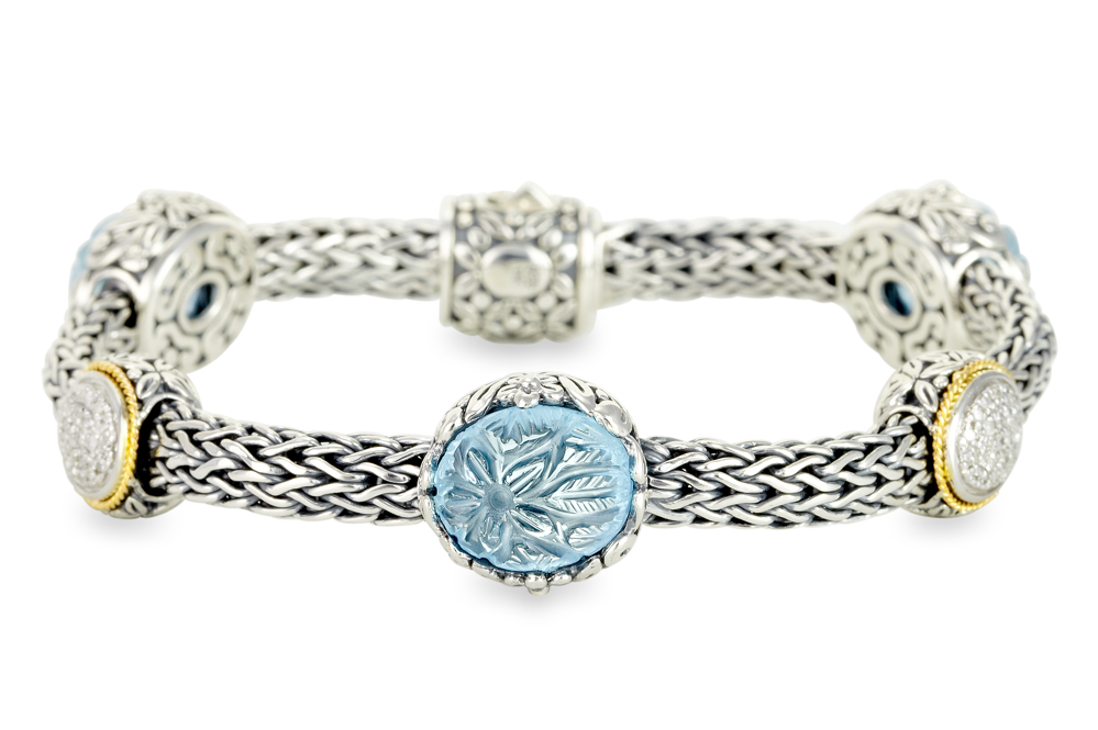 Carved Blue Topaz and Diamond Sterling Silver Woven Bracelet with 18K Gold Accents