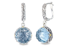 Carved Blue Topaz Sterling Silver Earrings with 18K Gold Accents
