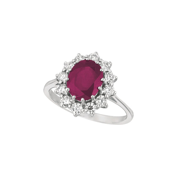 Ruby and Diamond 14K White Gold Ring