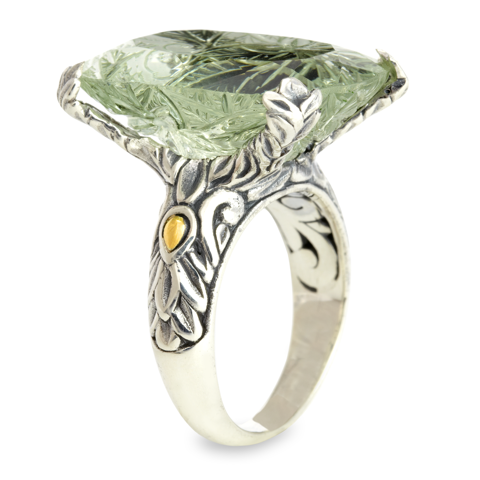 Carved Green Amethyst Sterling Silver Pronged Ring with 18K Gold Accents
