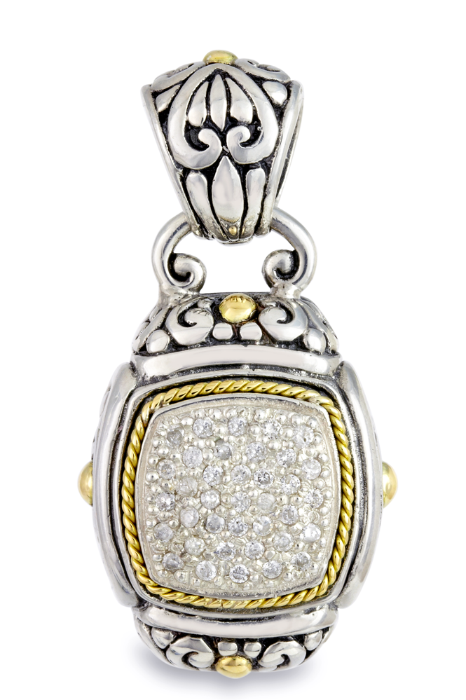 Silver with Gold Accents Pendant with Diamonds