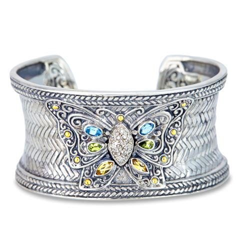 Diamond and Multi Gemstone Cuff Bangle Set in Sterling Silver & 18K Gold Accents