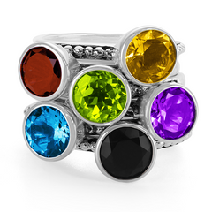 Multi Gemstone Stackable Rings in Sterling Silver