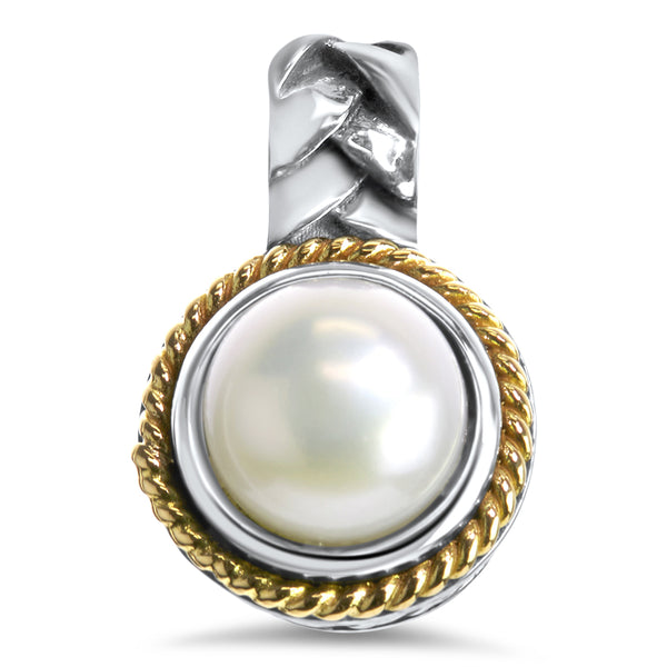 White Pearl Sterling Silver Pendant with 18K Gold Accents