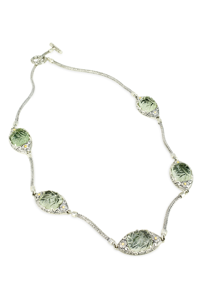 Carved Green Amethyst Sterling Silver Woven Necklace with 18K Gold Accents