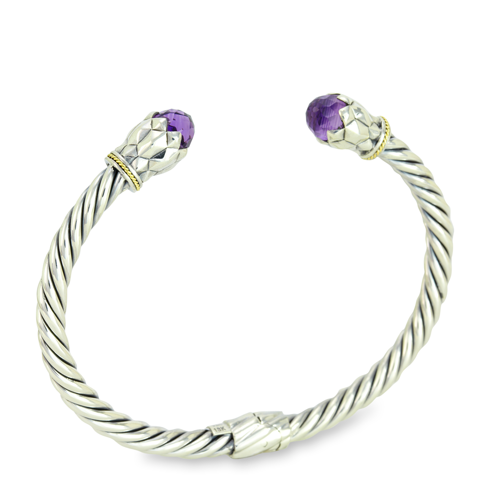 Amethyst Twisted Cable Bangle Sterling Silver Bangle with 18K Gold Accents