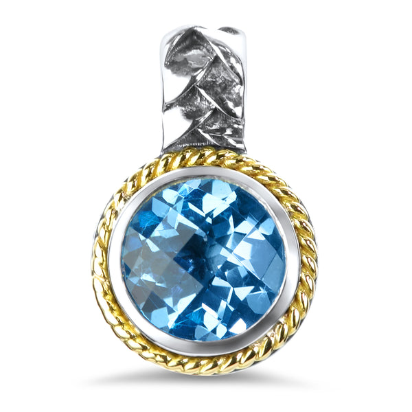 Blue Topaz Sterling Silver Pendant with 18K Gold Accents