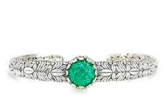 Carved Green Onyx Sterling Silver Bangle with 18K Gold Accents