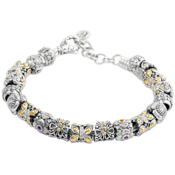 "Silver Charm Bracelet Featuring Gold/Diamond and Multi. Gemstones ""Emma"""