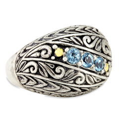 Blue Topaz Sterling Silver Ring with 18K Gold Accents