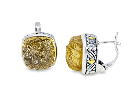 "Carved Citrine Earrings Set in Sterling Silver & 18K Gold Accents ""Scarlett"""