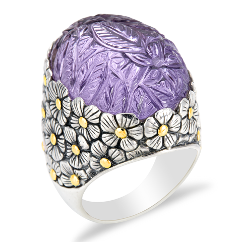 "Carved Pink Amethyst Sterling Silver Ring with 18K Gold Accents ""Odessa"""
